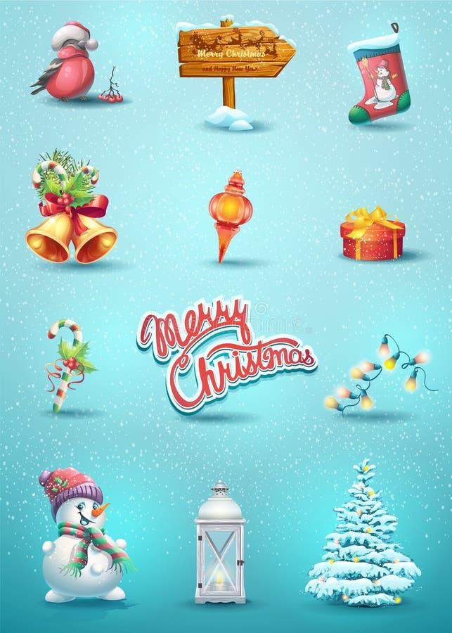 Jogo de elementos do Natal ilustração royalty free