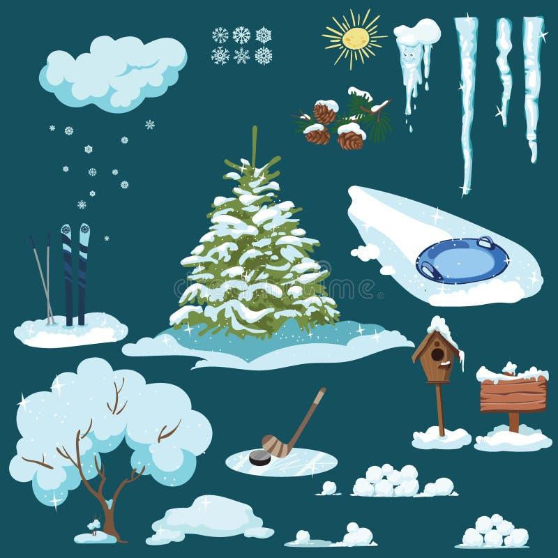 Jogo de elementos do Natal Uma coleção de desenhos dos desenhos animados pelo ano novo Estilo de vida do inverno Ilustração do Na ilustração stock