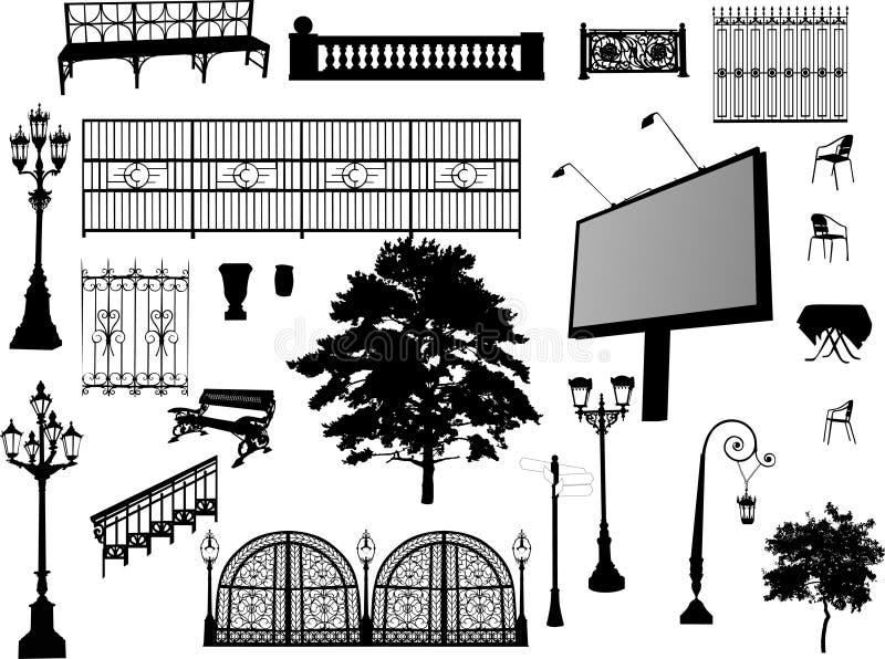 Jogo de elementos do parque no branco ilustração royalty free