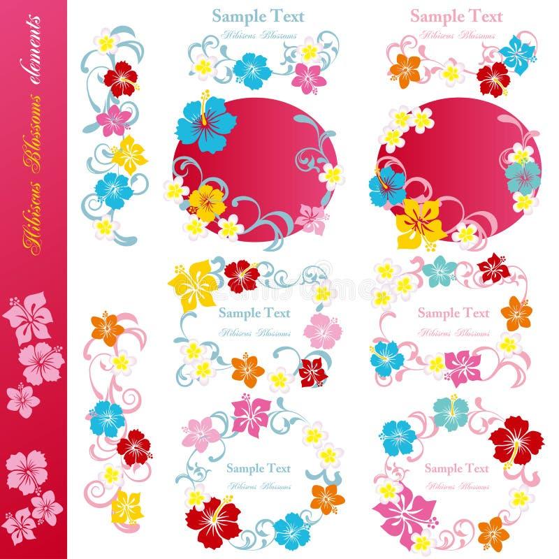 Jogo de elementos do projeto do hibiscus ilustração royalty free