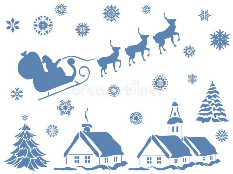 jogo de elementos do projeto do Natal ilustração royalty free