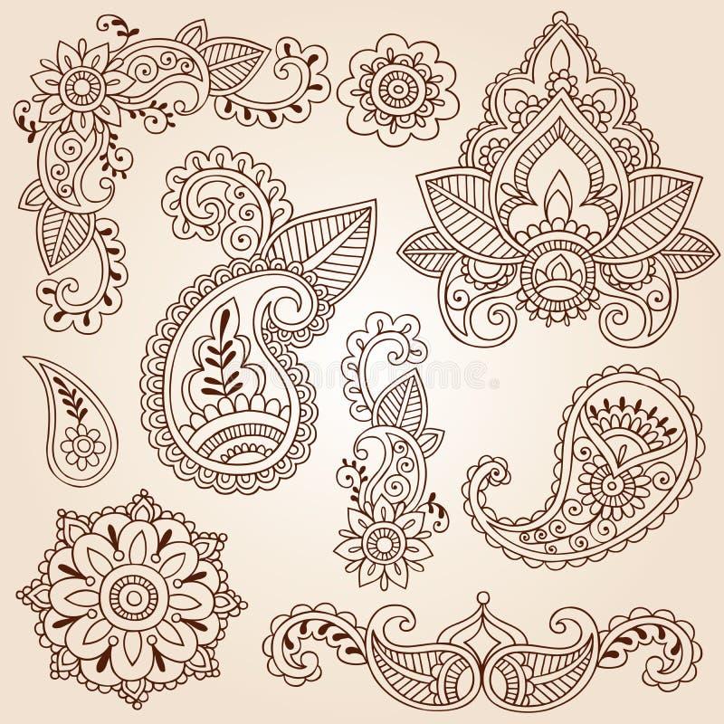 Jogo de elementos do projeto do tatuagem de Mehndi dos Doodles do Henna ilustração royalty free