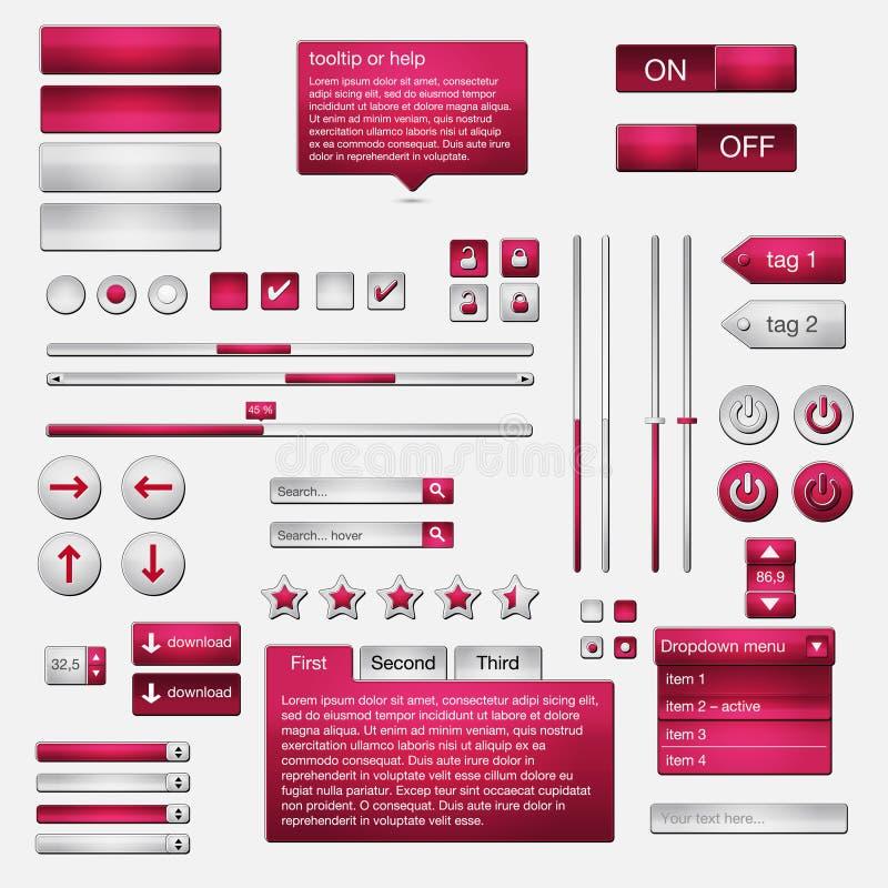 Jogo de elementos do Web do ui ilustração stock