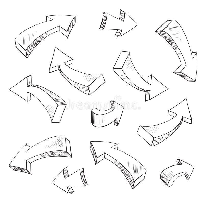 jogo de elementos esboçado do projeto da seta 3D ilustração do vetor