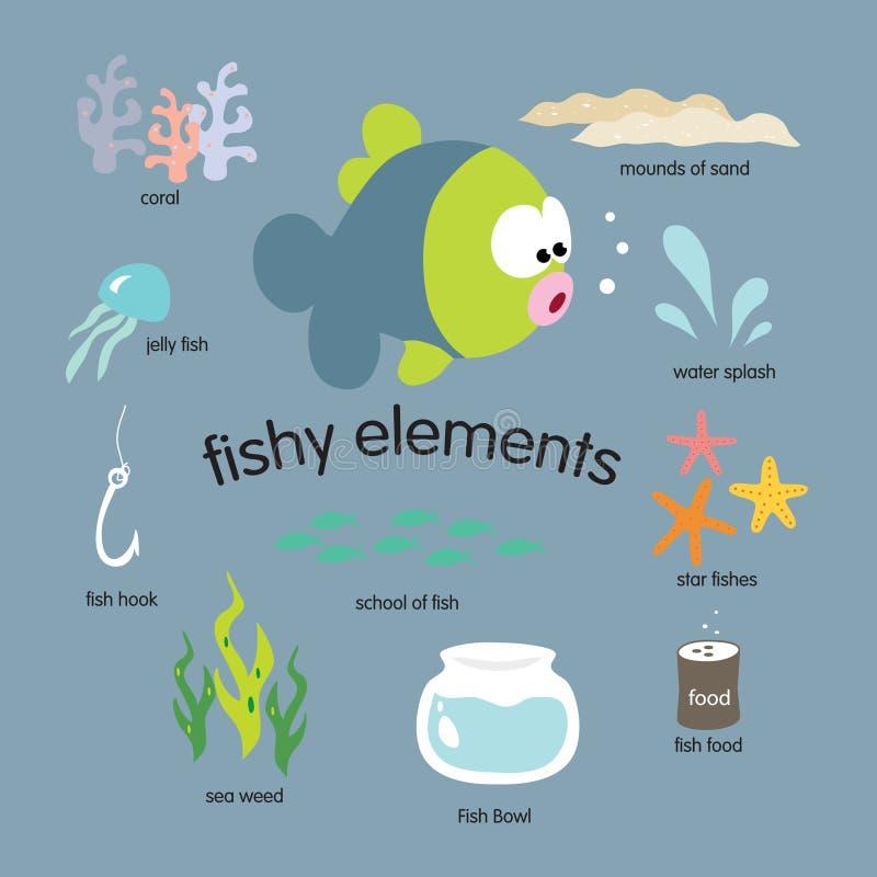 Jogo de elementos Fishy ilustração stock