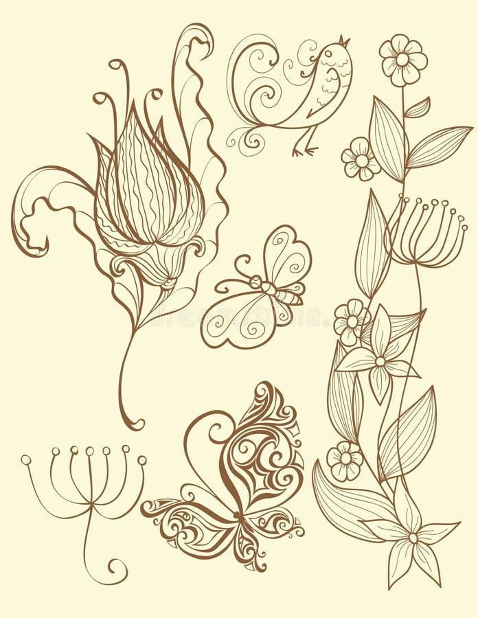 Jogo de elementos florais ilustração stock