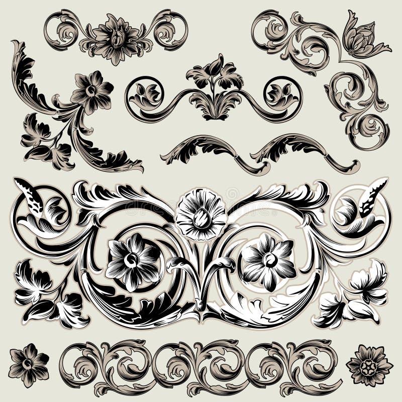 Jogo de elementos florais clássicos da decoração ilustração do vetor