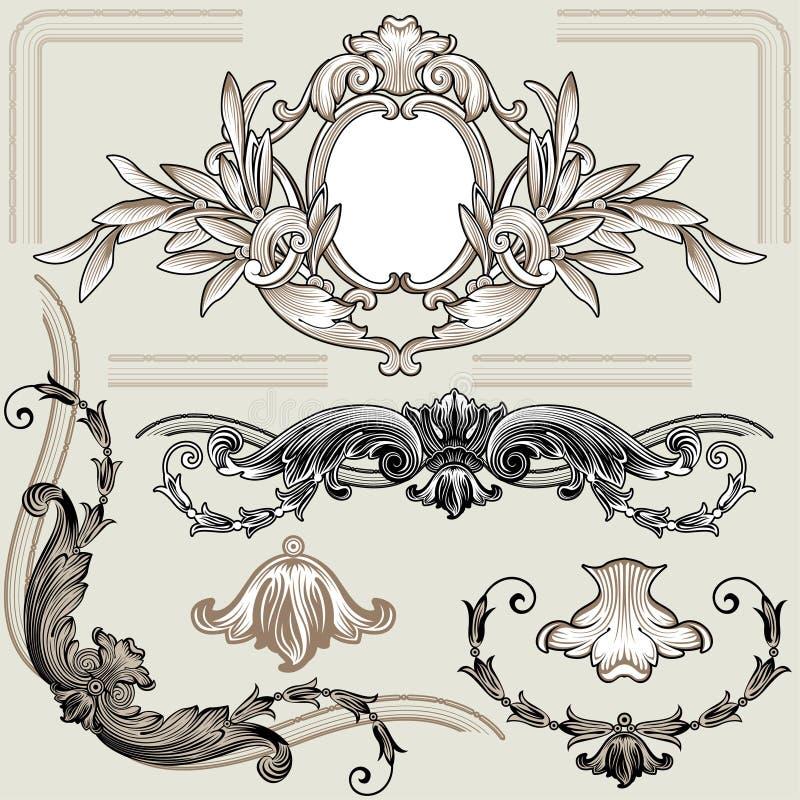 Jogo de elementos florais clássicos da decoração ilustração royalty free