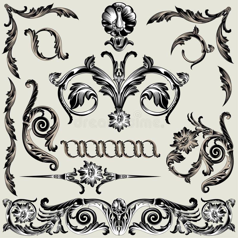Jogo de elementos florais clássicos da decoração ilustração stock