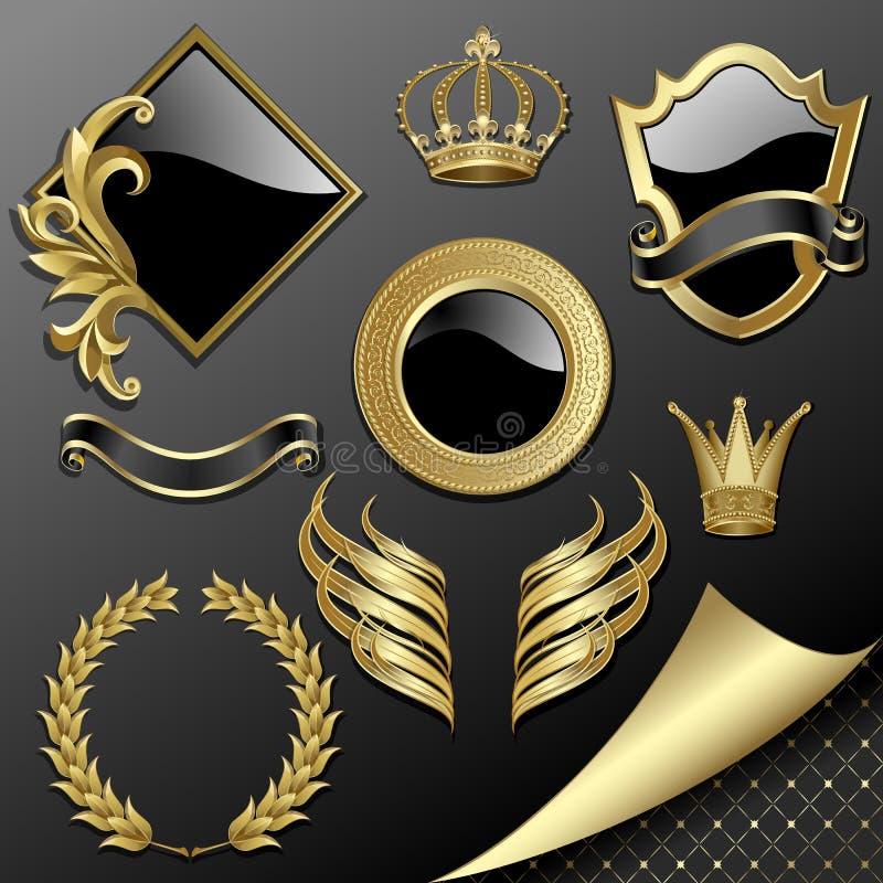 Jogo de elementos heráldicos ilustração royalty free