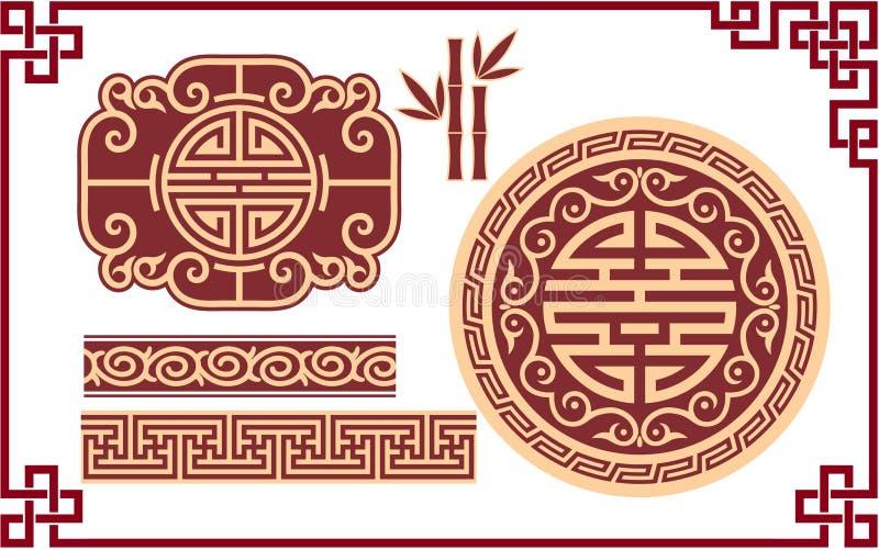 Jogo de elementos orientais do projeto ilustração royalty free