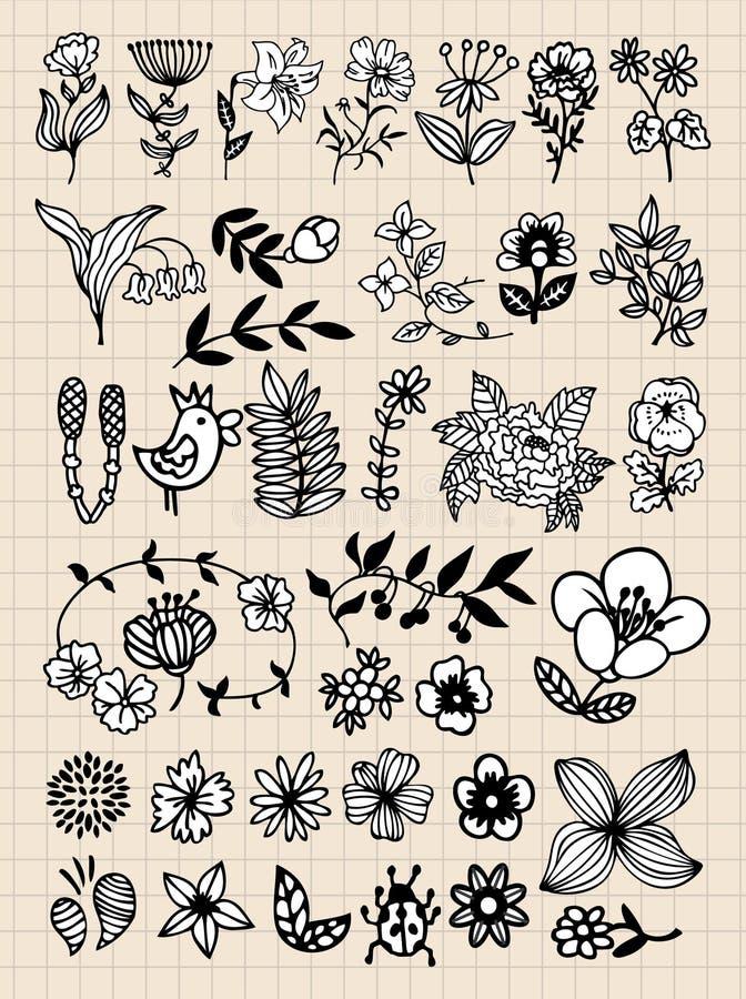 Jogo de elementos pretos do projeto da flor ilustração stock