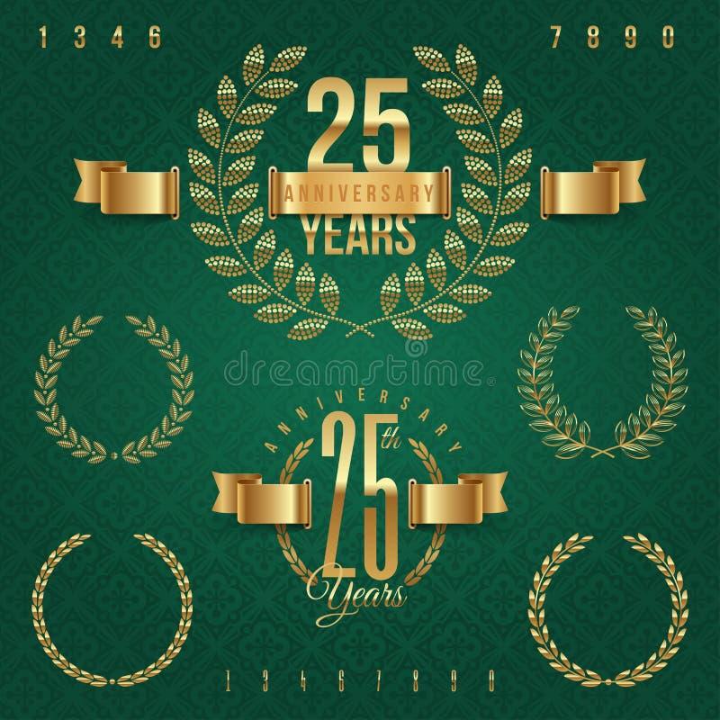 Jogo de emblemas dourados do aniversário ilustração royalty free