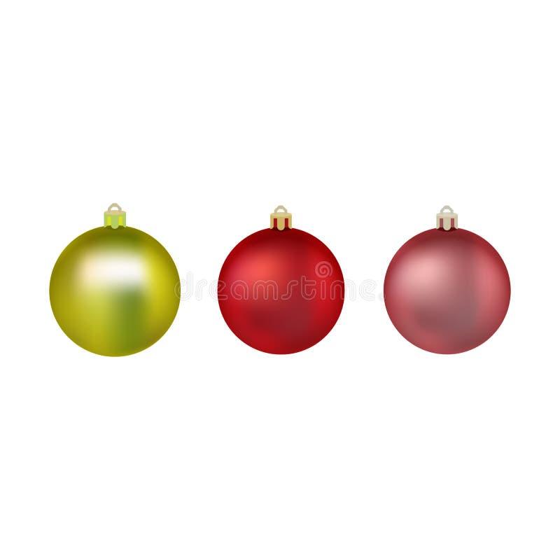 Jogo de esferas coloridas do Natal Bolas para a ?rvore de Natal Ilustra??o do vetor decora??o real?stica isolada S?mbolo de ilustração stock
