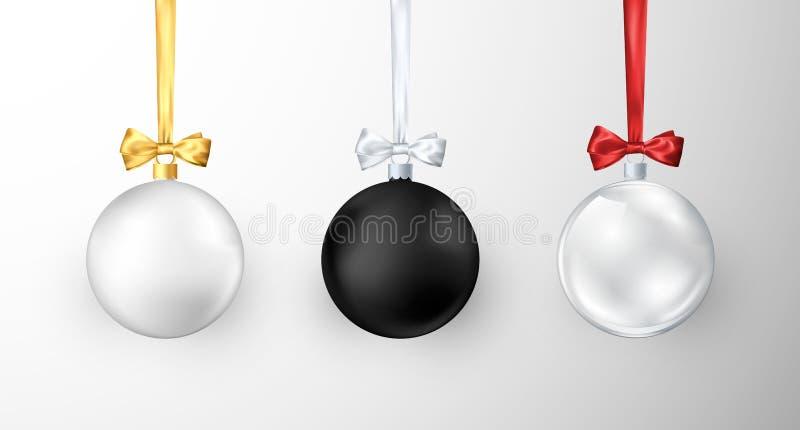 Jogo de esferas do Natal Decorações da árvore do xmas lustroso realístico e do ano novo ilustração do vetor