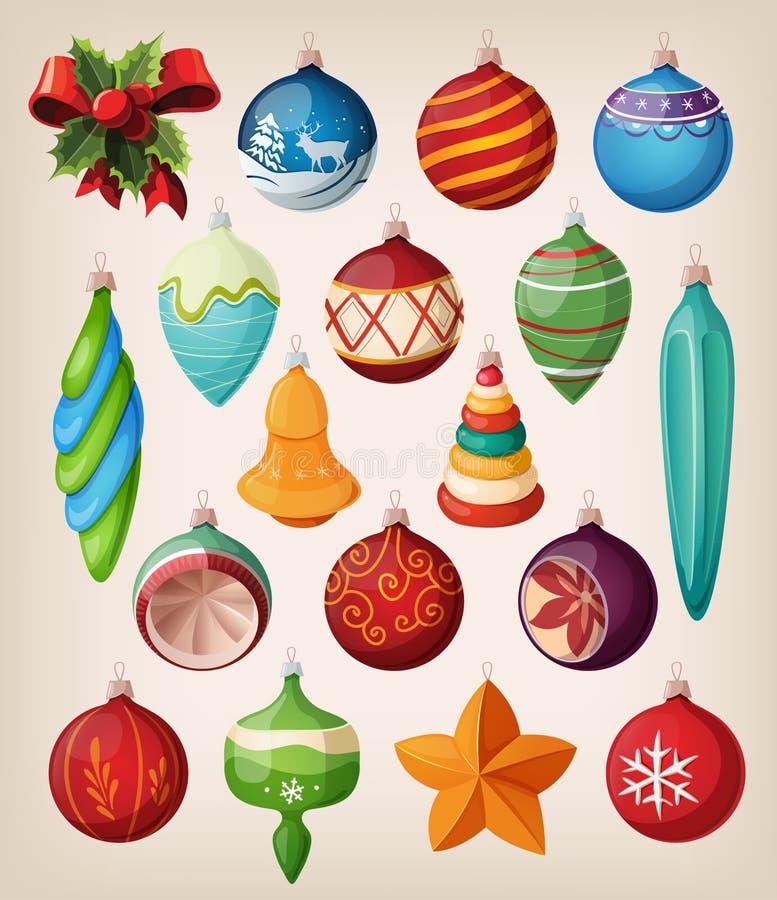 Jogo de esferas do Natal do vintage. ilustração royalty free