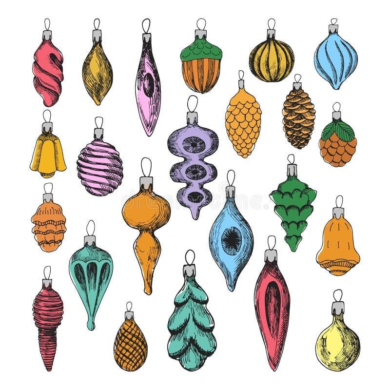 Jogo de esferas do Natal Elementos tirados mão do vintage Decoração bonito colorida Objetos do vetor ilustração do vetor