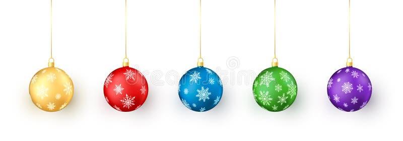 Jogo de esferas do Natal no fundo branco Decoração dos brinquedos do Natal colorido e do ano novo pelo floco de neve ilustração do vetor