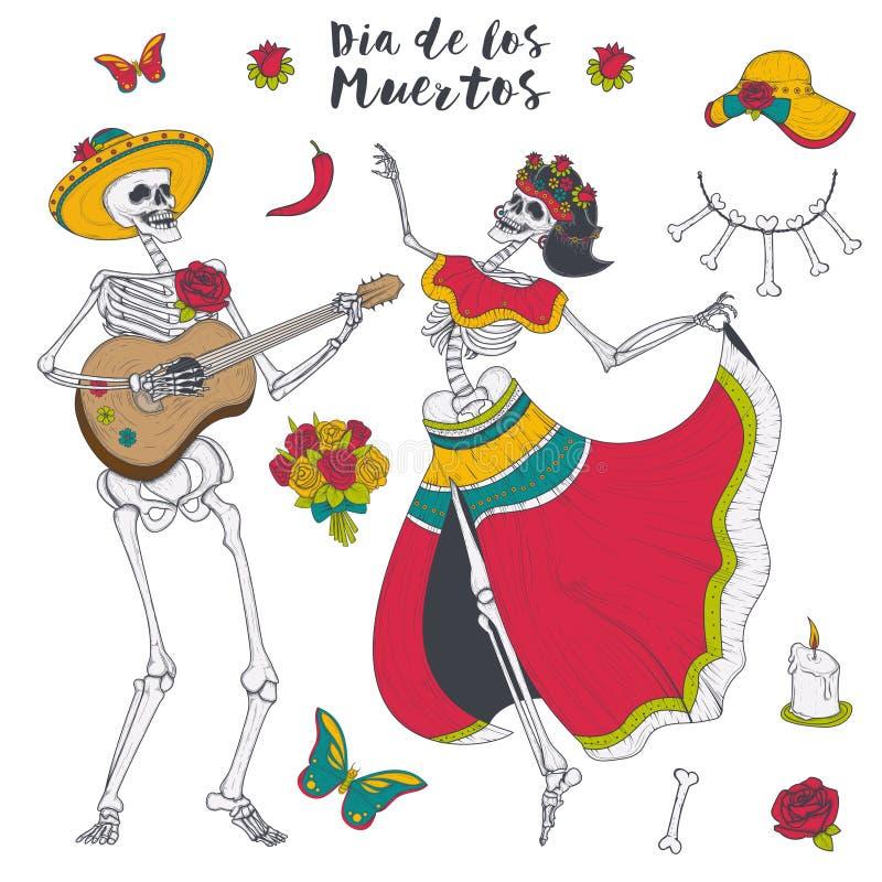 Jogo de esqueleto masculino e fêmea a guitarra e a dança ilustração do vetor