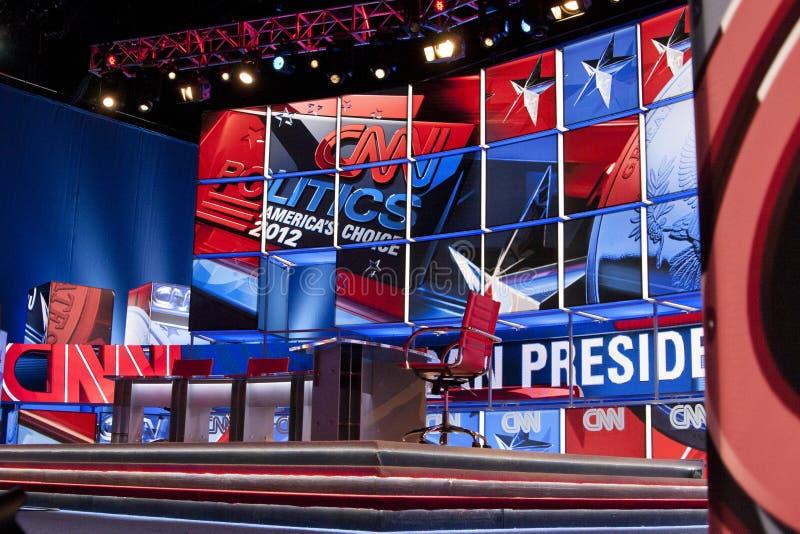 Jogo de estágio do debate da televisão por cabo do CNN fotografia de stock royalty free