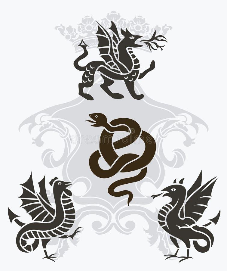 Jogo de estêncis mythical das criações ilustração do vetor