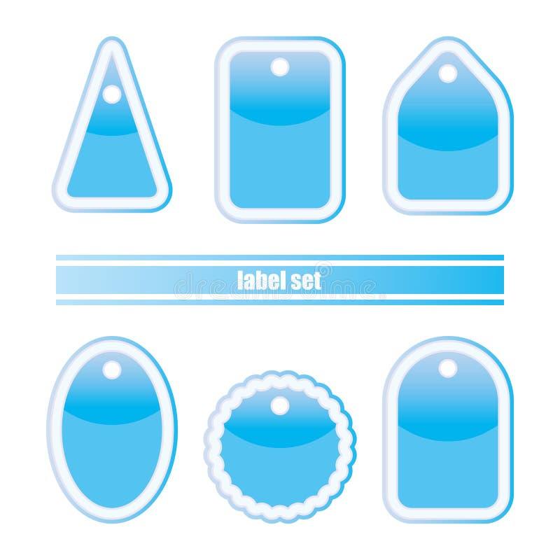 Jogo de etiqueta azul ilustração stock