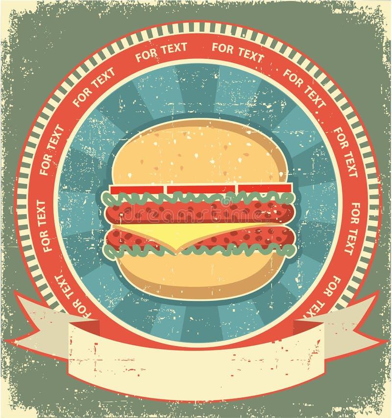 Jogo de etiqueta do Hamburger no papel velho ilustração stock