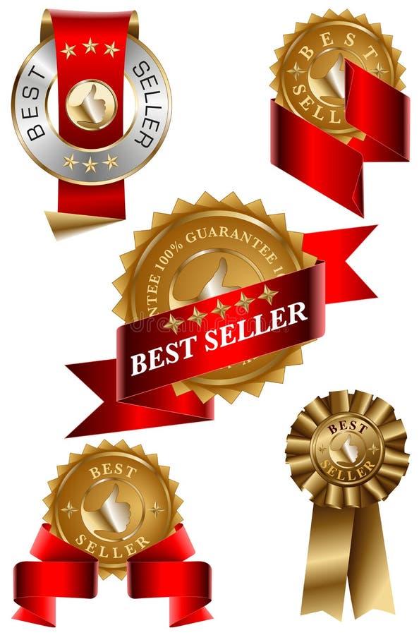 Jogo de etiqueta do melhor vendedor ilustração stock