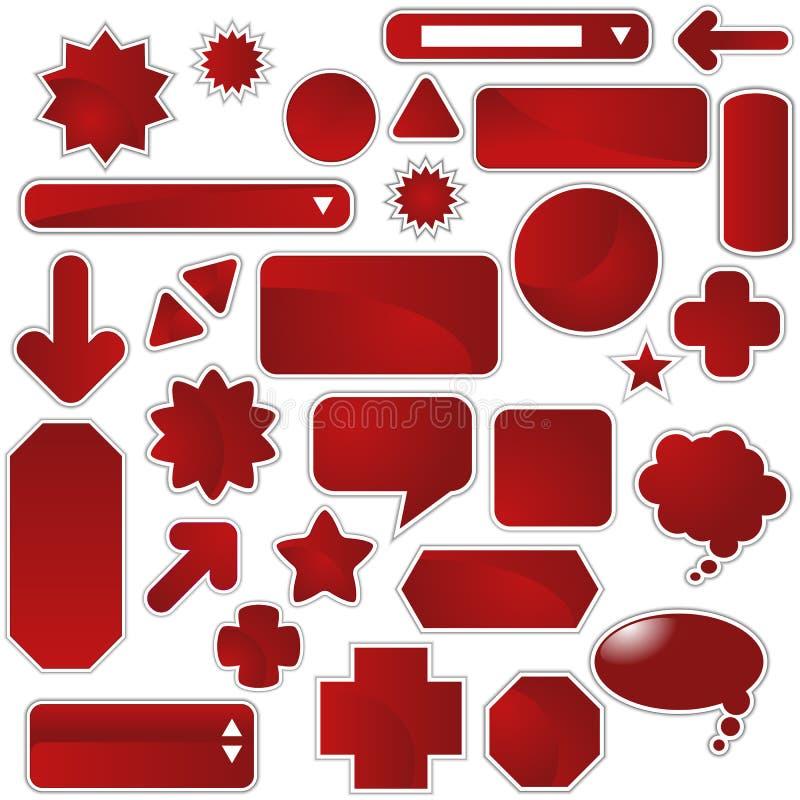 Jogo de etiqueta - vermelho ilustração do vetor