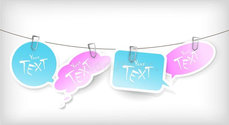 Jogo de etiquetas azuis e cor-de-rosa. ilustração stock
