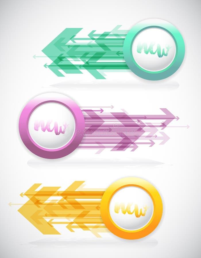 Jogo de etiquetas coloridas ilustração stock