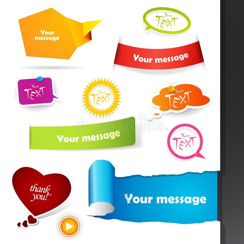 Jogo de etiquetas coloridas, etiquetas. ilustração royalty free