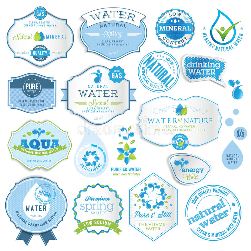 Jogo de etiquetas da água ilustração do vetor