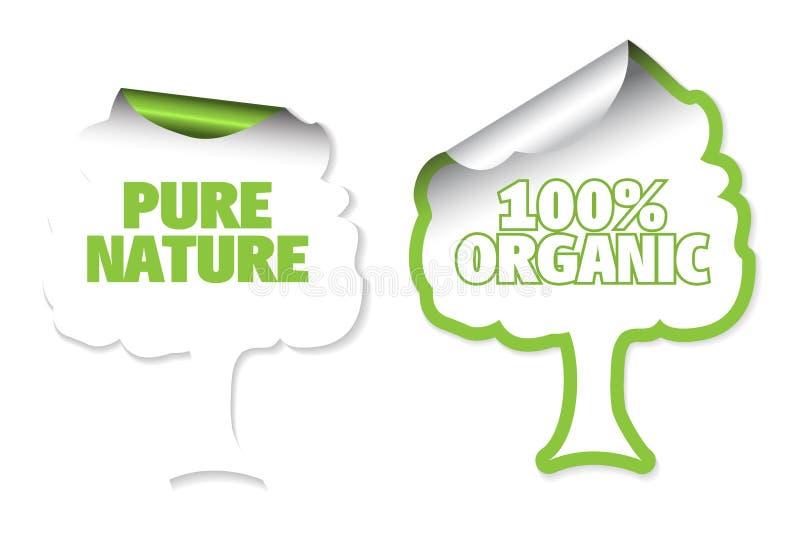 Jogo de etiquetas da árvore para orgânico ilustração stock