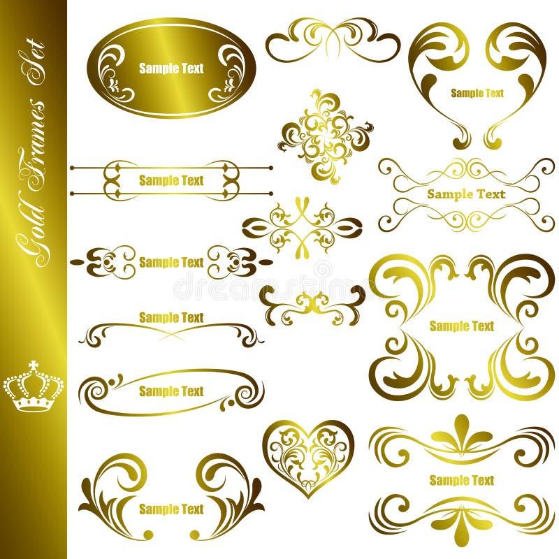 Jogo de etiquetas do ouro ilustração stock