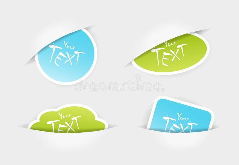 Jogo de etiquetas do verde azul em uns bolsos. ilustração do vetor
