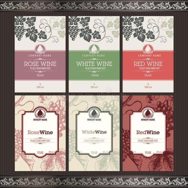 Jogo de etiquetas do vinho ilustração royalty free