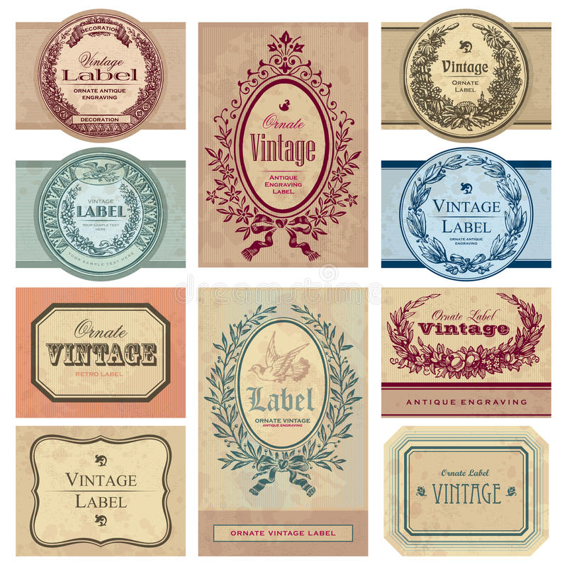Jogo de etiquetas do vintage () ilustração royalty free