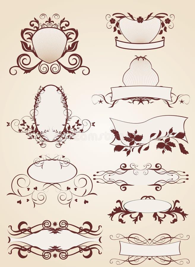 Jogo de etiquetas do vintage ilustração do vetor