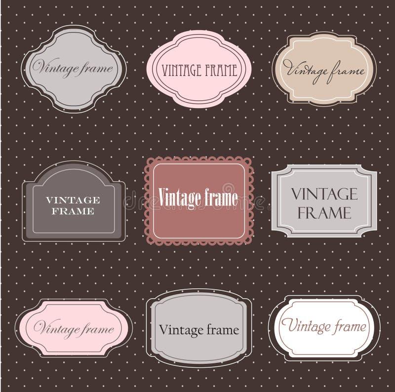 Jogo de etiquetas do vintage ilustração stock