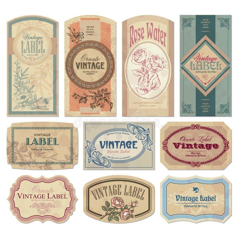 Jogo de etiquetas do vintage () ilustração do vetor