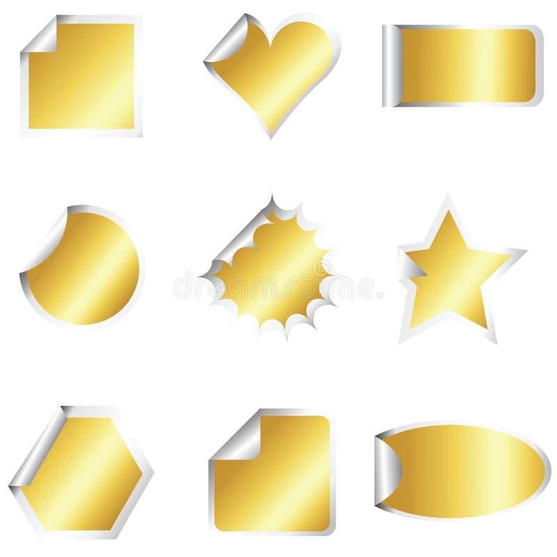 Jogo de etiquetas douradas ilustração royalty free