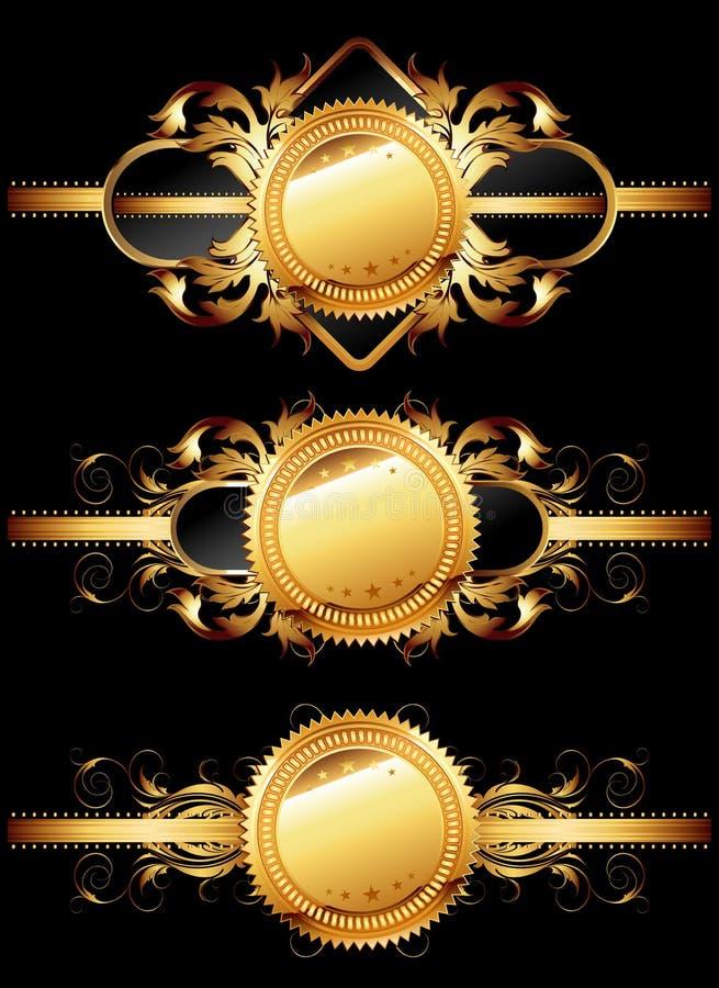 Jogo de etiquetas douradas decorativas ilustração stock