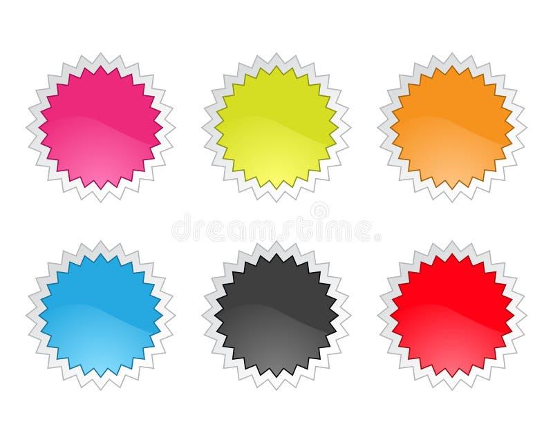 Jogo de etiquetas lustrosas do Tag da venda no backgroun branco ilustração stock