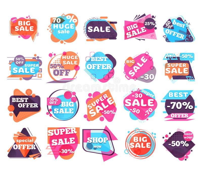 Jogo de etiquetas modernas da venda ilustração stock