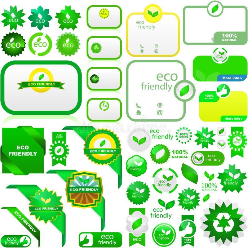 Jogo de etiquetas naturais. ilustração stock