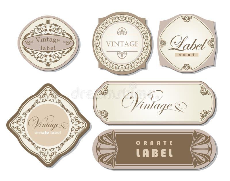 Jogo de etiquetas ornamentado do vintage ilustração do vetor