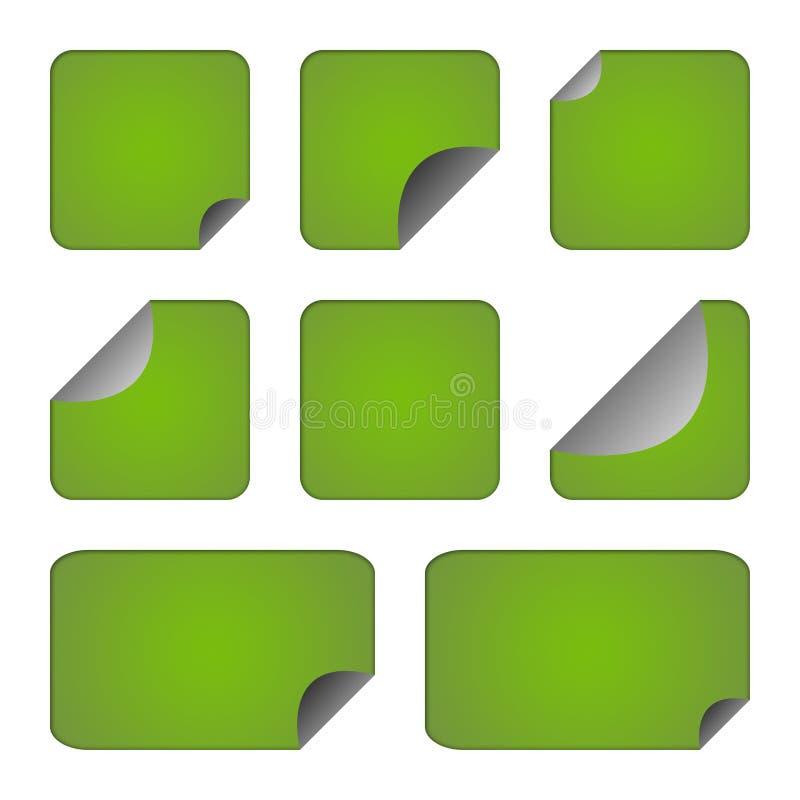 Jogo de etiquetas ou de etiquetas verdes ilustração do vetor
