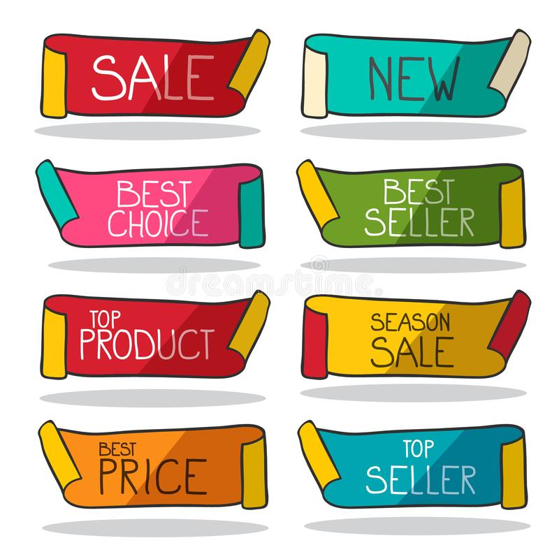 Jogo de etiquetas retro Etiquetas do negócio do vetor ilustração stock