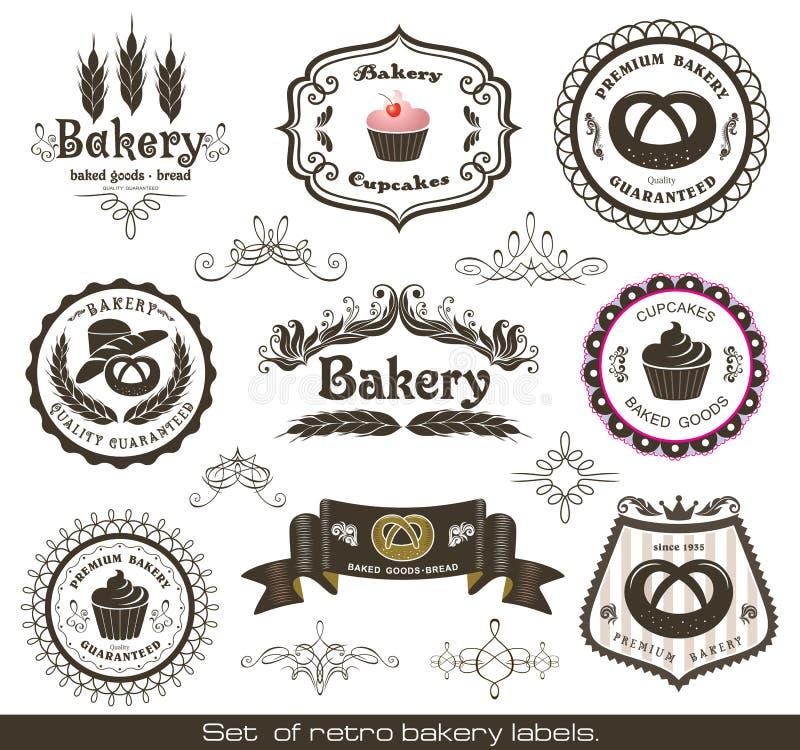 Jogo de etiquetas retros da padaria do vintage ilustração stock